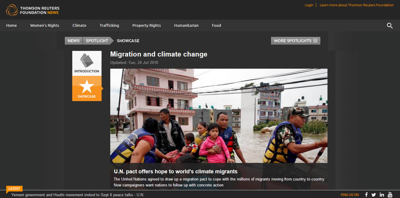 news.trust.org link to migration and climate change at saving our planet