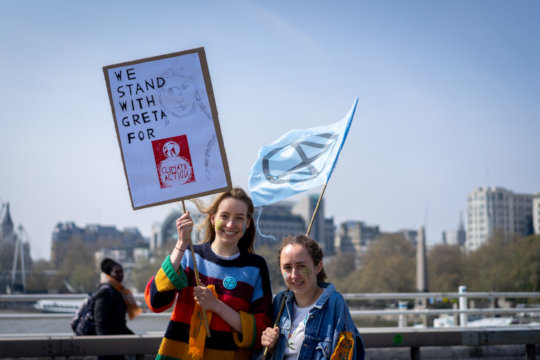 We Stand With Greta -- Waterloo Bridge,15 Apr 2019