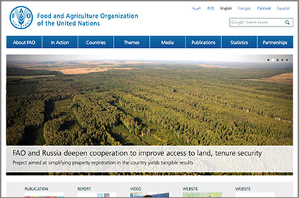FOOD AND AGRICULTURE ORGANIZATION OF THE UNITED NATIONS News link graphic at Climate Change Site