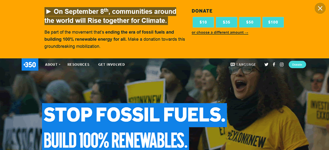 Link to 350.org image at Climate Change Site