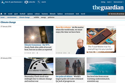 The Guardian News link graphic at Climate Change Site