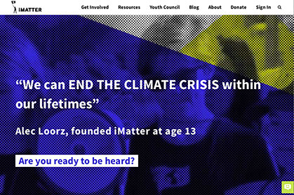 iMatter Youth News link graphic at Climate Change Site