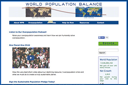 world population balance link graphic at Climate Change Site